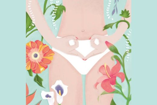 natural contraception drawing of woman with hands shaped as ovaries and surrounded by flowers