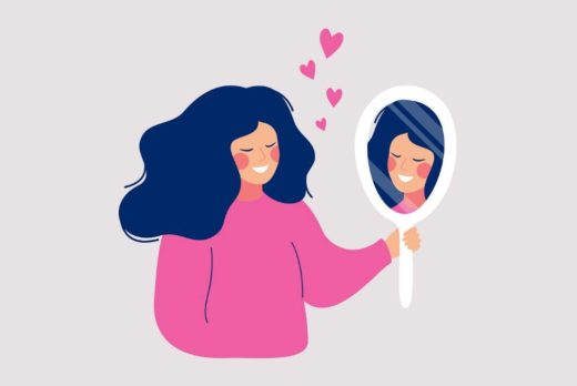 self-love and self-esteem. Drawing of woman looking at herself in the mirror