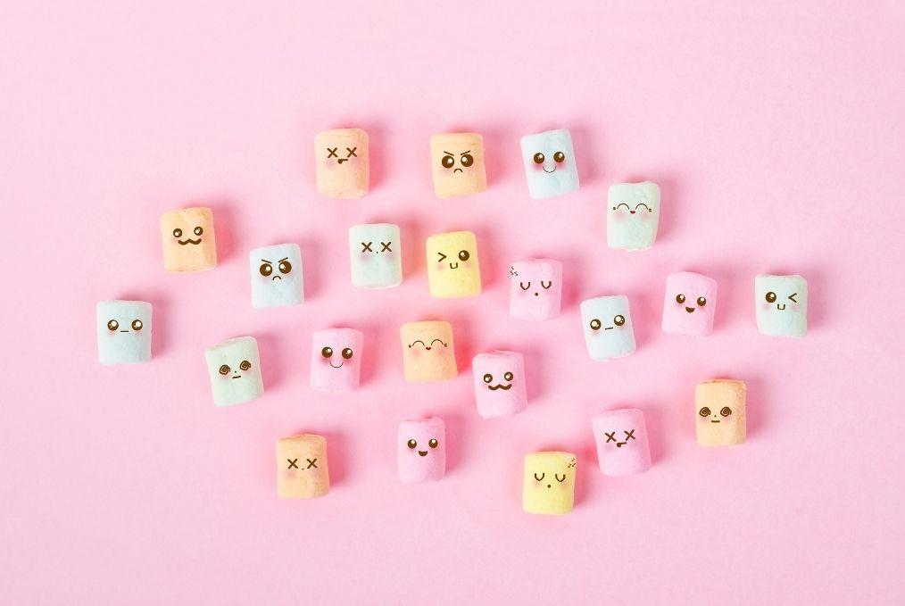A range of fictive faces symbolising emotion
