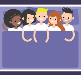 Five people in a bed. Polyamory, swinging, non-monogamy.
